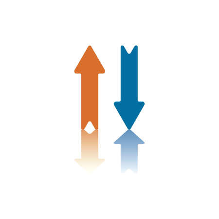 Two Parallel Vertical Arrows, One Blue Pointing Down, One Orange Pointing Up Vector