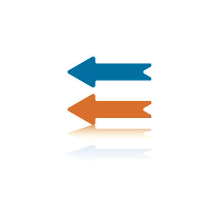 backwards: Two Parallel Horizontal Arrows, Both Pointing Left, One Orange and One Blue