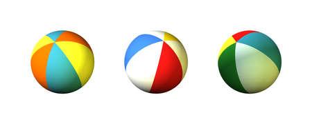 Three 3D Colored Stripes Beach Balls Stock Photo