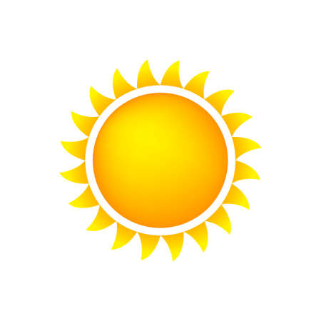 Sun Icon With Flames, Color, Gradient OrangeYellow Illustration