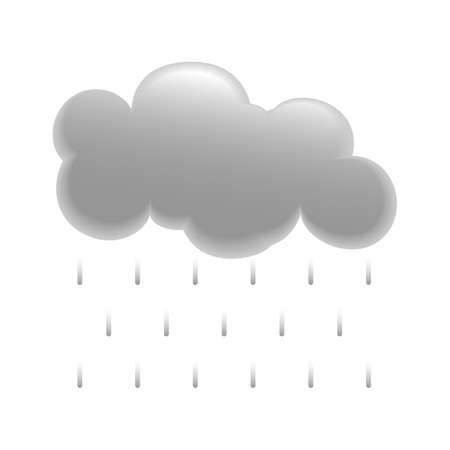 Grey Cloud Icon With Rain Dropping Çizim