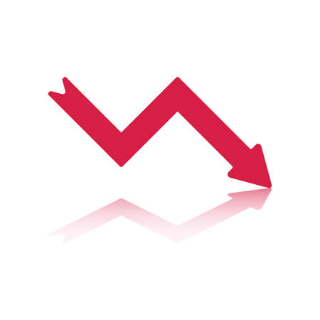 down arrow: Declining Right Pointing Red Arrow Reflecting off Bottom Plane
