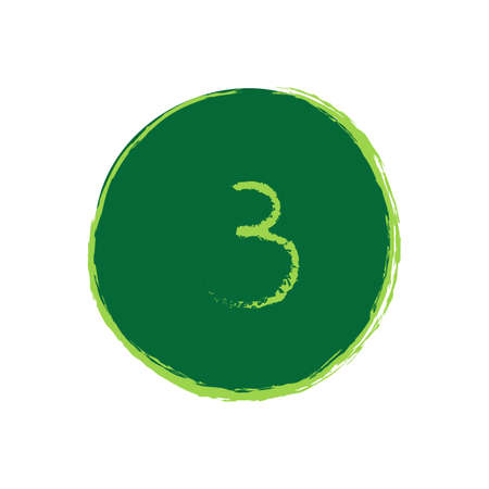 noises: Green Circle With Number Three in The Middle - Grunge Style