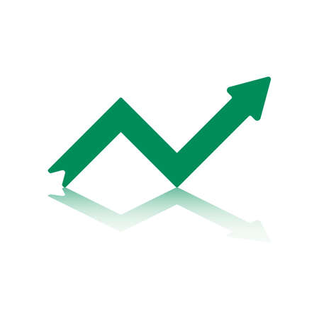 stockmarket: Growth Right Pointing Green Arrow Reflecting off Bottom Plane  Illustration