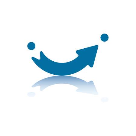 flecha azul: Flecha apuntando curvas del punto A al punto B