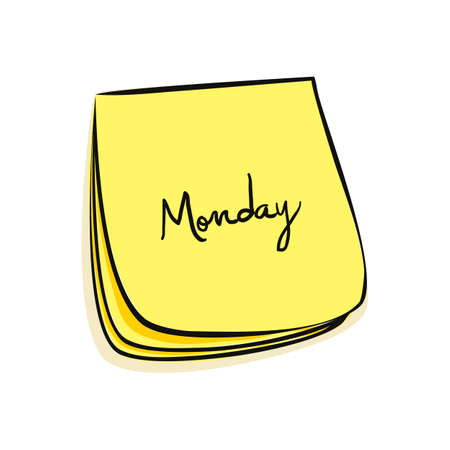weekdays: Daily Post-It Notes With Handwritten Monday Illustration