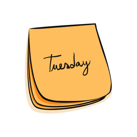 weekdays: Daily Post-It Notes With Handwritten Tuesday Illustration