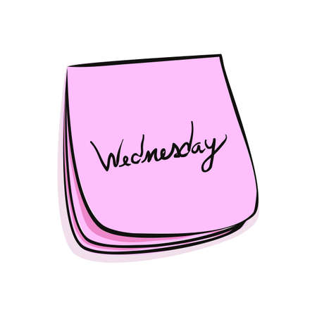 Daily Post-It Notes With Handwritten Wednesday 일러스트