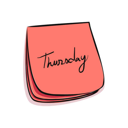 weekdays: Daily Post-It Notes With Handwritten Thursday