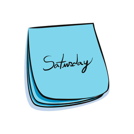 weekdays: Daily Post-It Notes With Handwritten Saturday Illustration