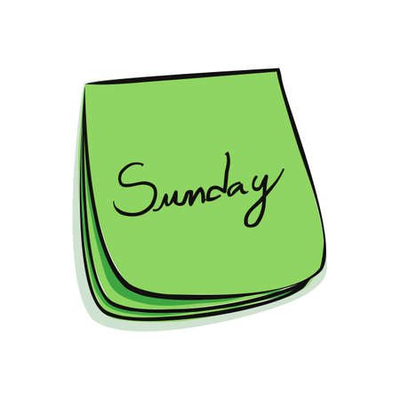 Daily Post-It Notes With Handwritten Sunday 일러스트