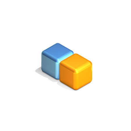 differ: Two Adjacent Cubes in Three Dimensional Isometric Perspective