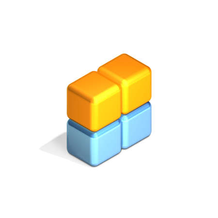 differ: Four Adjacent Cubes in Three Dimensional Isometric Perspective