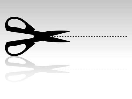 modelling: Silhouette Illustration of Scissors and Cutting Mark  Illustration