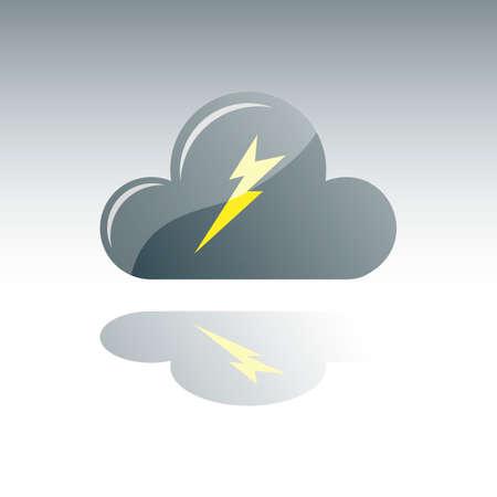 dark cloud: Nube Gris Oscuro Con Rayo y reflexi�n Vectores