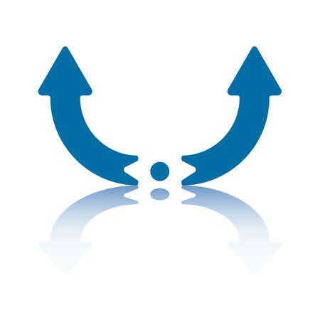 中心点から上向き左右対称の曲線矢印  イラスト・ベクター素材