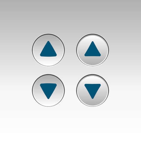 Illustration of Elevator Buttons, Pressed and Unpressed Illustration