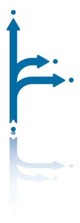 splitting: Two Arrows Splitting From Central Arrow