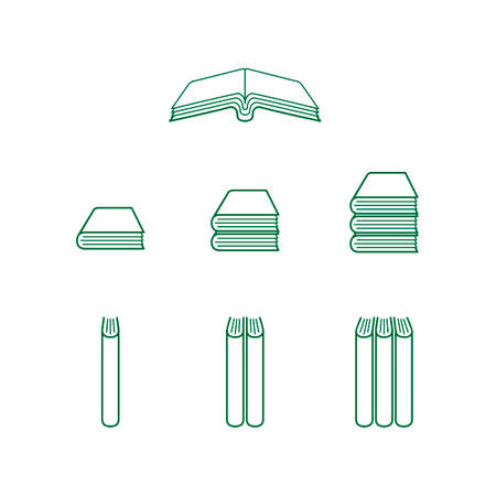 Green Book Icons - Open and Closed Books Vector