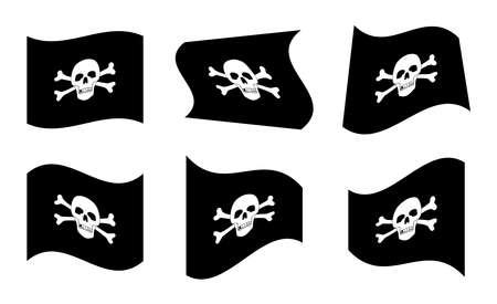 buccaneer: Vector Illustration of Pirate Flags Waving