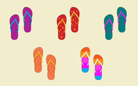 Vector Illustration of Several Pairs of Flip-Flops Vector