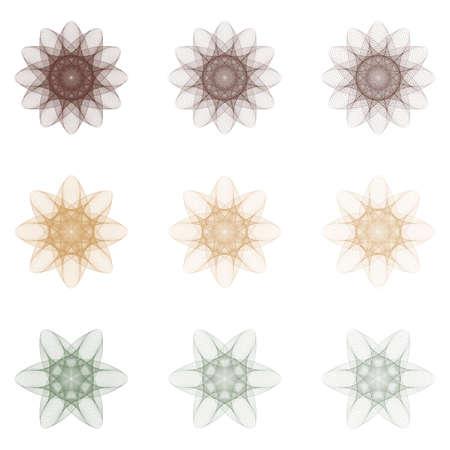 Neun Vector Guillochiermaschine Rosetten Illustration