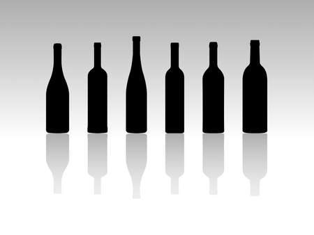 Silhouette Vector Illustrations of Collection of Six Wine Bottles Vector