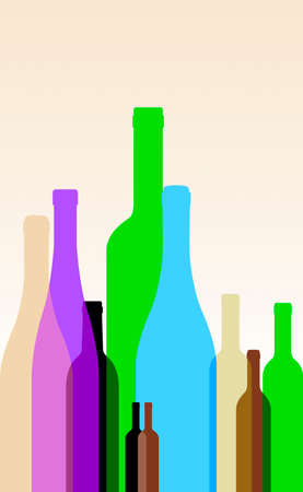 Collection of Colorful Wine Bottles - Vector Illustration Vector