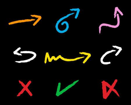 Vector Colored Chalk Symbols (arrows, checkmark, cross)