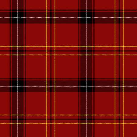 赤タータン シームレスなパターン (赤、黒、白、黄色)