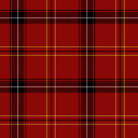 kilt: Red Tartan Seamless Pattern (red, black, white and yellow) Stock Photo