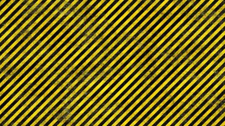 黒と黄色の警告行のグランジの現実的なレンダリング