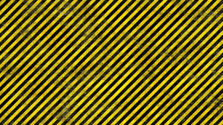 Realistic Grunge Rendering of Black and Yellow Warning Lines