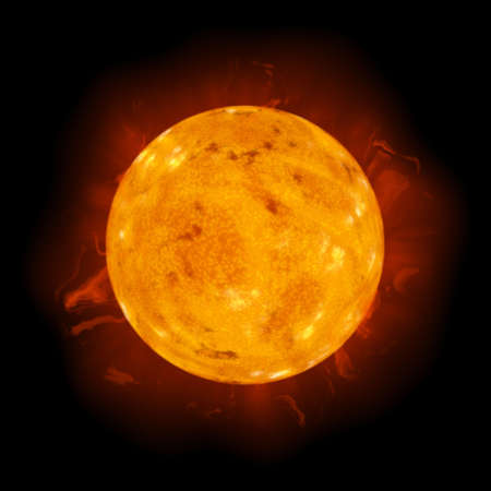 sizzling: Realistic Rendering Illustration of the Sun Star