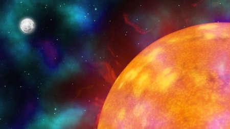 zon maan: Bit map Illustration of kosmische ruimte met Sun, maan en sterren