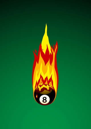 Vector Illustration of Pool Ball No. 8 on Fire illustration