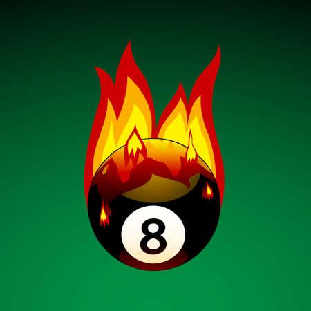 Illustration vectorielle de pool ball nº 8 on Fire Banque d'images - 6124401