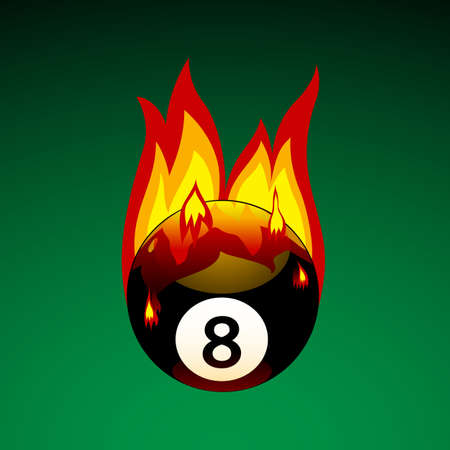 8 ball: Vector Illustration of Pool Ball No. 8 on Fire Stock Photo