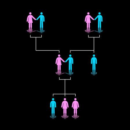 genetica: Illustrazione Vettoriale di albero genealogico di tre generazioni
