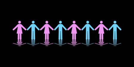 Vector Pictograms of Eight Men and Women Holding Hands Stock Vector - 6219691