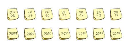 yearly: Anual notas post-it con n�meros manuscritos (a�os 2008 a trav�s de 2014)