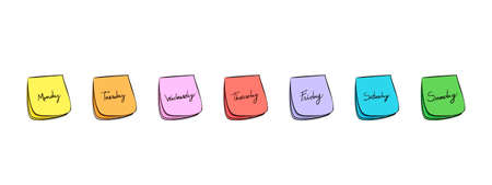 sept: Feuillets Post-it quotidiennes avec manuscrites jours du lundi au vendredi  Illustration