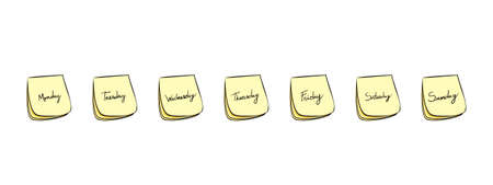 weekdays: Daily Post-It Notes With Handwritten Days Monday Through Friday