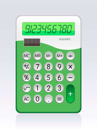 adding: Illustration of Solar Powered Basic Calculator (all elements are fully editable, numbers are paths) Illustration