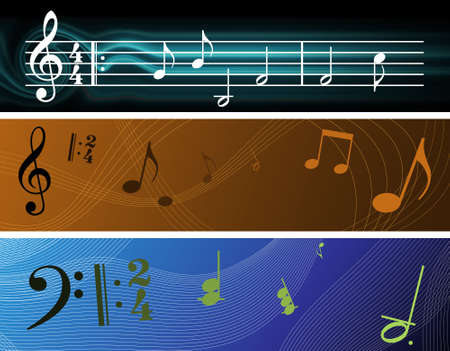 notation: Tre Music Notation ispirato Background Banner (4000px x 1000px ogni) Archivio Fotografico