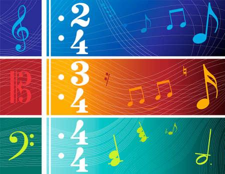音部記号のイラスト基づくバナー (F、C、G クレフ)