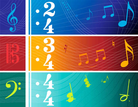 Illustrations of Clef Based Banners (F, C and G Clefs) Vector