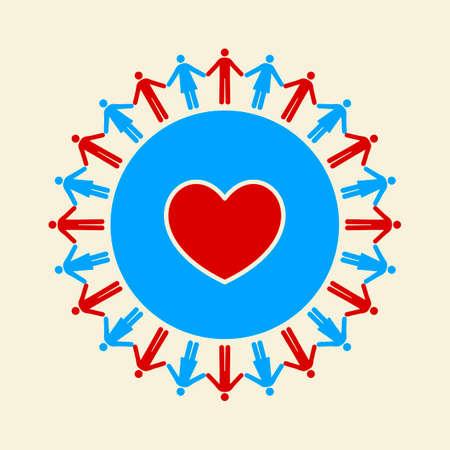 mani terra: Uomini e donne, tenendo le mani intorno un cuore dentro il mondo Vettoriali