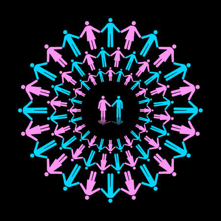 Three Concentric Circles of Men and Women Holding Hands With One Couple as Center Çizim