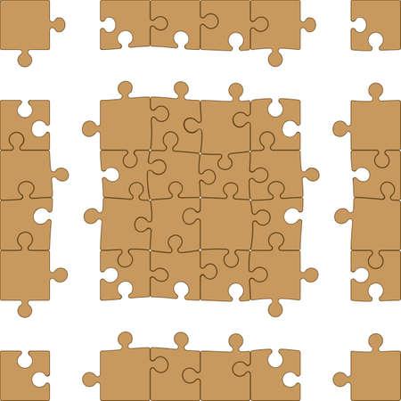 ジグソー パズルのベクトル (16 個入モジュール + フレームすることができます無制限の拡張、簡単 - 色を変更する深さの錯覚を使用して編集可能な  イラスト・ベクター素材